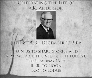 Celebrating the life of A.K. Anderson