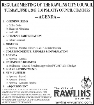 Regular Meeting of the Rawlins City Council