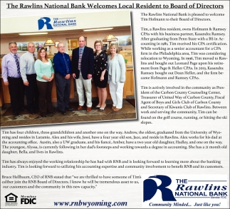 The Rawlins National Bank Welcomes Local Resident to Board of Directors