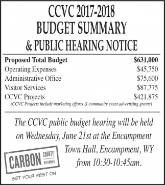 Budget Summary and Public Hearing Notice