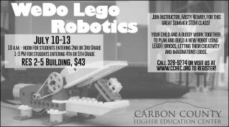 Wedo Lego Robotics Carbon County Higher Education Center Rawlins Wy