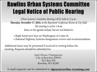 Rawlins Urban Systems Committee