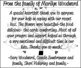 From the family of Marilyn Woodward