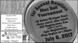 1st Annual Rawlins Disc Golf Tournament
