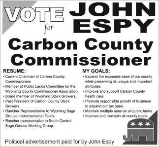 Vote John Espy for Carbon County Commissioner