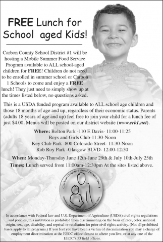 Free Lunch for School aged Kids!