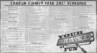 Carbon County Fair 2017 Schedule