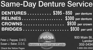 Same-Day Denture Service