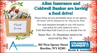 Allen Insurance and Coldwell Banker are Having a Food Drive!