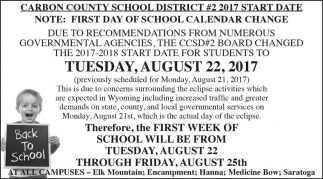 First Day of School Calendar Change