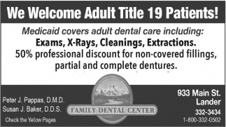 We welcome adult title 19 patients!