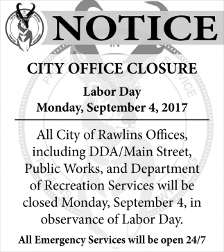 Notice - City Office Closure
