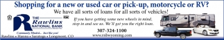 Shopping for a new or used car or pick-up, motorcycle or RV?