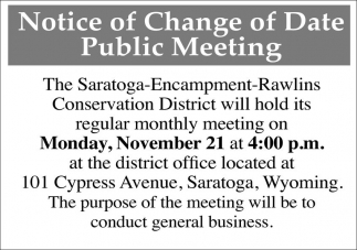 Notice of change of date public meeting