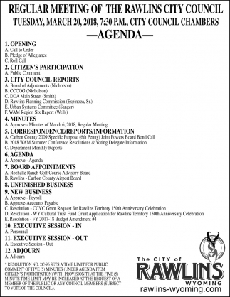 Regular Meeting of the Rawlings City Council