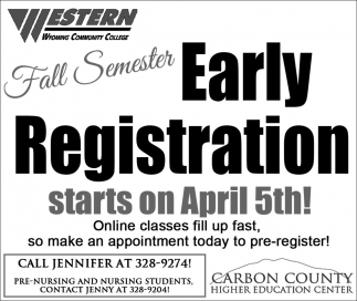 Fall Semester Early Registration