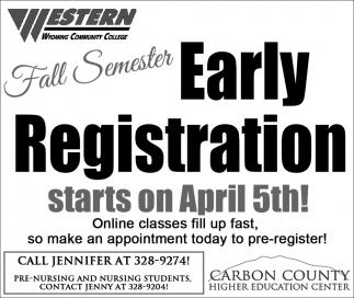 Fall Semester Early Registration