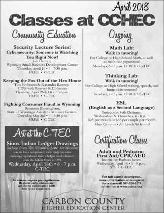 Classes At Ccgec Carbon County Higher Education Center Rawlins Wy