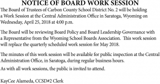 Notice of Board Work Session