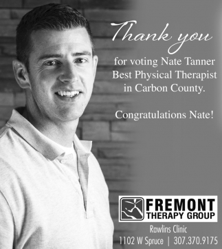 Thank You for Voting Nate Tanner Best Physical Therapist in Carbon County