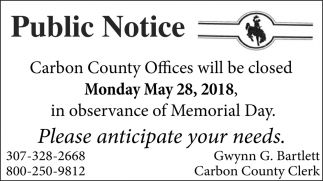 Carbon County Offices Wil lbe Closed