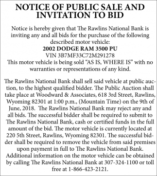 Notice of Public Sale and Invitation to Bid