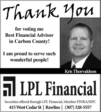 Thank You for Voting Me Best Financial Advosorin Carbon County!