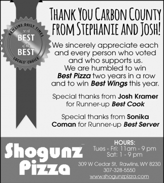 Thank You Carbon County from Stephanie and Josh