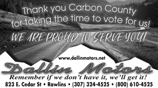 Thank You Carbon County for Tking the Time to Vote for Us!