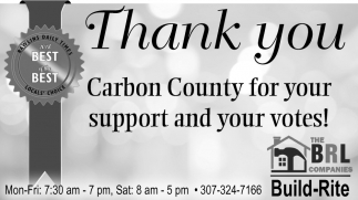 Thank You Carbon County for Your Support ad Your Votes!