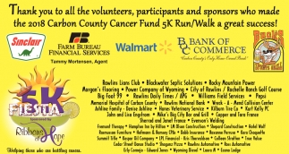 Thank You All Volunteers, Participants and Sponsors who Made the 2018 Carbon County Cancer Fund 5k Run/Walk a Great Success!