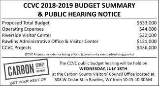 CCVC 2018-2019 Budget Summary