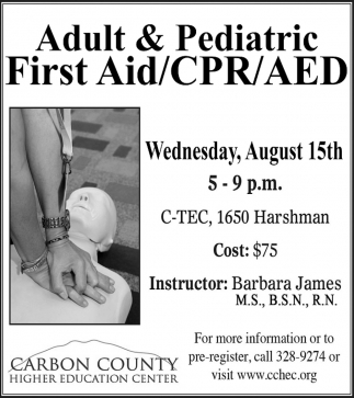 Adult Pediatric First Aidcpraed Carbon County Higher Education