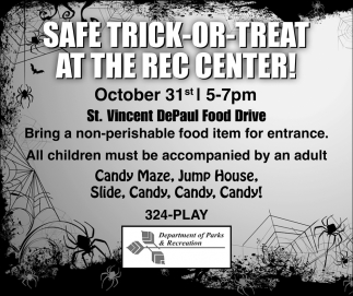 Safe Tick-or-Treat at the Rec Center!