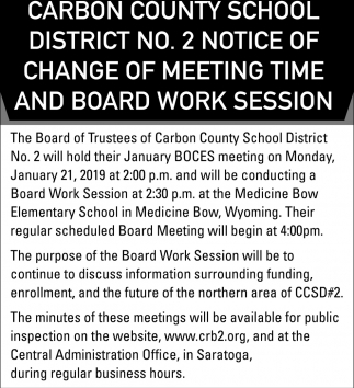Notice of Change of Meeting Time