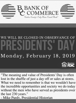 Closed in Observance of Presidents' Day