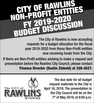 City of Rawlins Non-Profit Entities FY 2019-2019 Budget Discussion