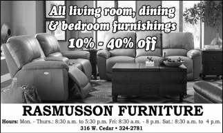 All Living Room, dining and bedroom furnishings 10%-40% off