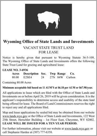 Vacant State Trust Land for Lease