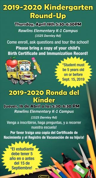 2019-2020 Kindergarten Round-Up