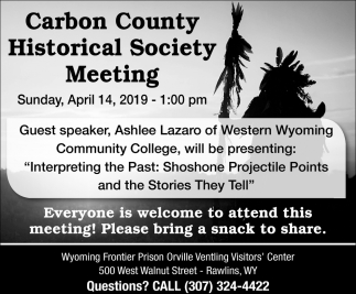 Carbon County Historical Society Meeting