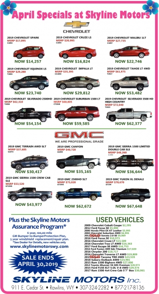 April Specials at Skyline Motors