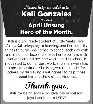 April Unsung Hero of the Month