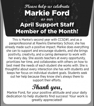 April Support Staff Member of the Month