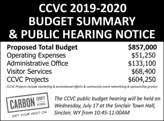 CCVC 2019-2020 Budget Summady & Public Hearing Notice