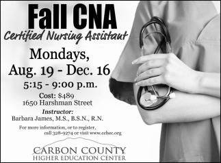 Fall CNA Certified Nursing Assistant