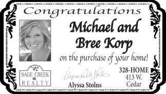 Congratulations Michael and Bree Korp