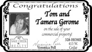Congratulations Tom and Tamera Gerome