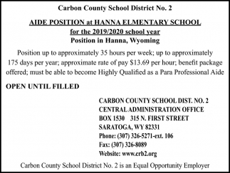 Aide Position at Hanna Elementary school