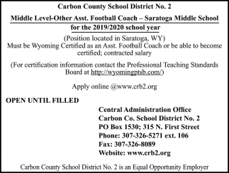 Middle Level-Other Asst Football Coach